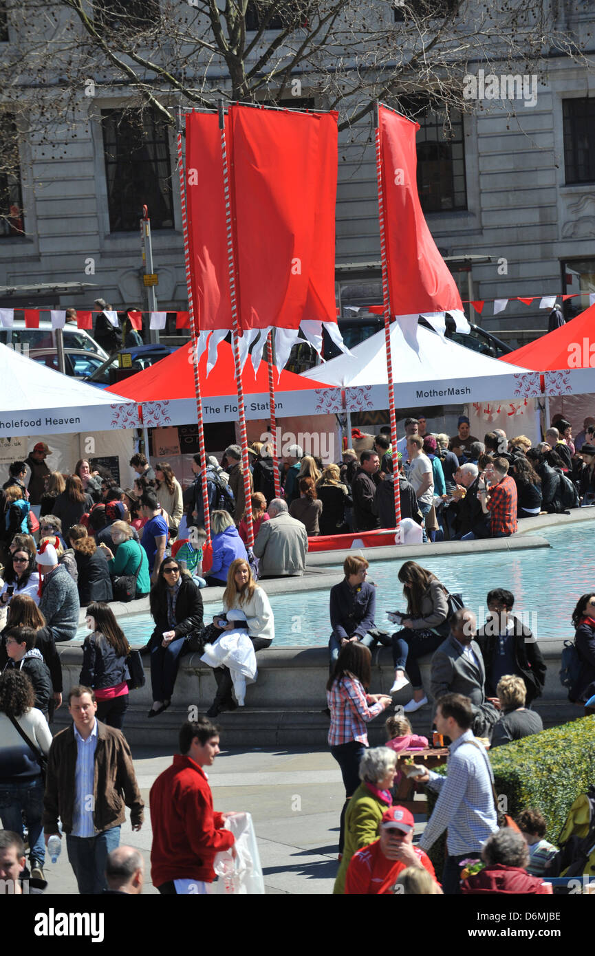 Trafalgar Square, London, UK. 20th April 2013. The crowd fills Trafalgar Square at the Feast of St George. The Feast - Stock Image