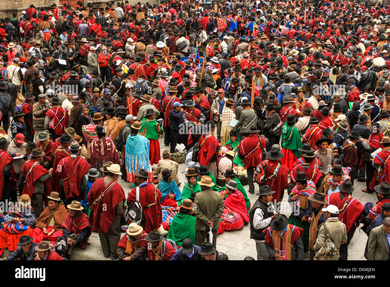 Indigenous peoples gathering to protest - Stock Image