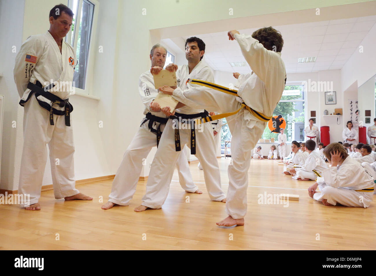 Berlin, Germany, Young completed a fraction test at Taekwondo - Stock Image