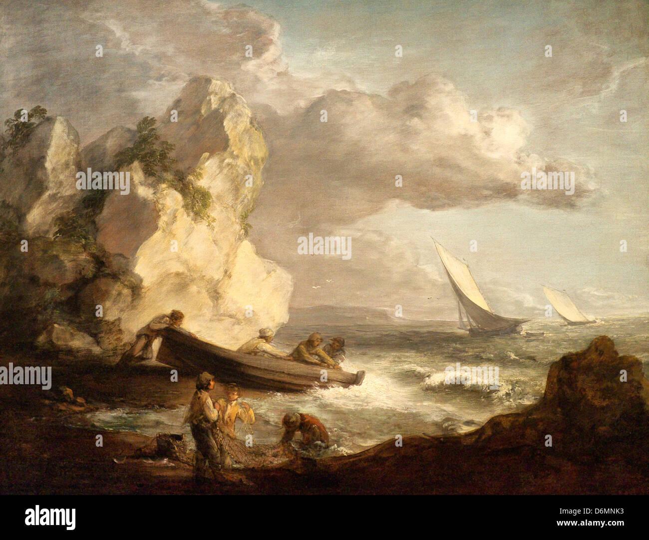 Seashore with Fishermen by Thomas Gainsborough - Stock Image