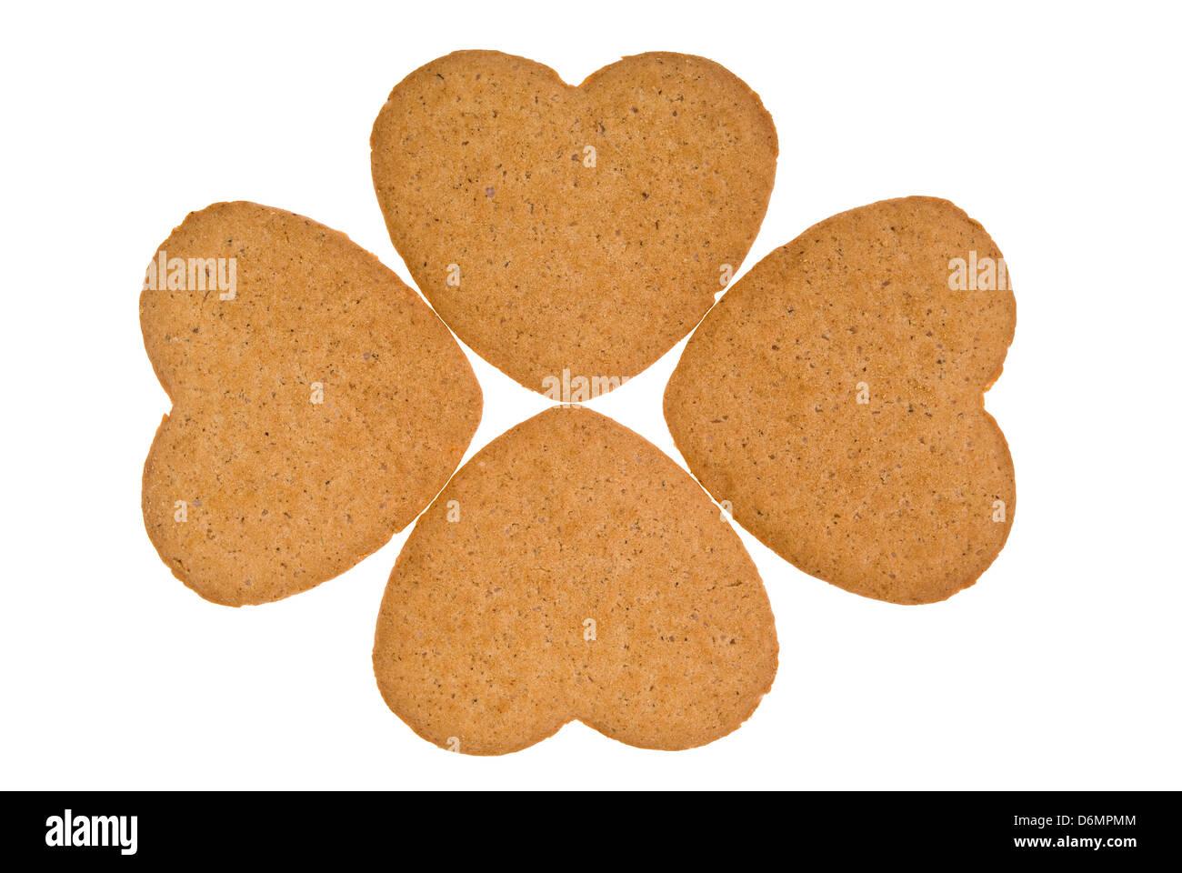 arranged cake hearts isolated on white background - Stock Image