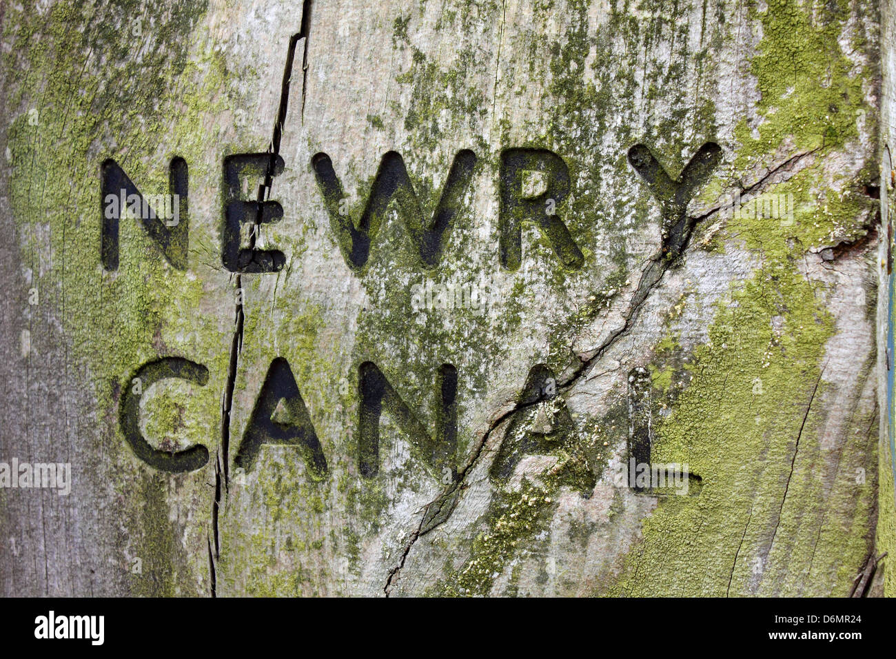 Newry Canal signpost near Scarva, Northern Ireland - Stock Image