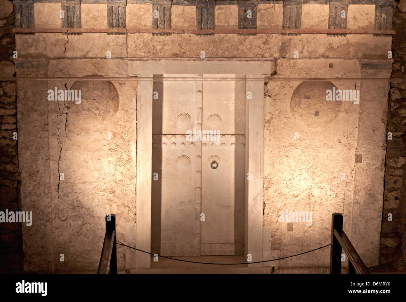 Ancient Macedonian tomb of king Philip the second found at Vergina (ancient Aigai) in Greece - Stock Image