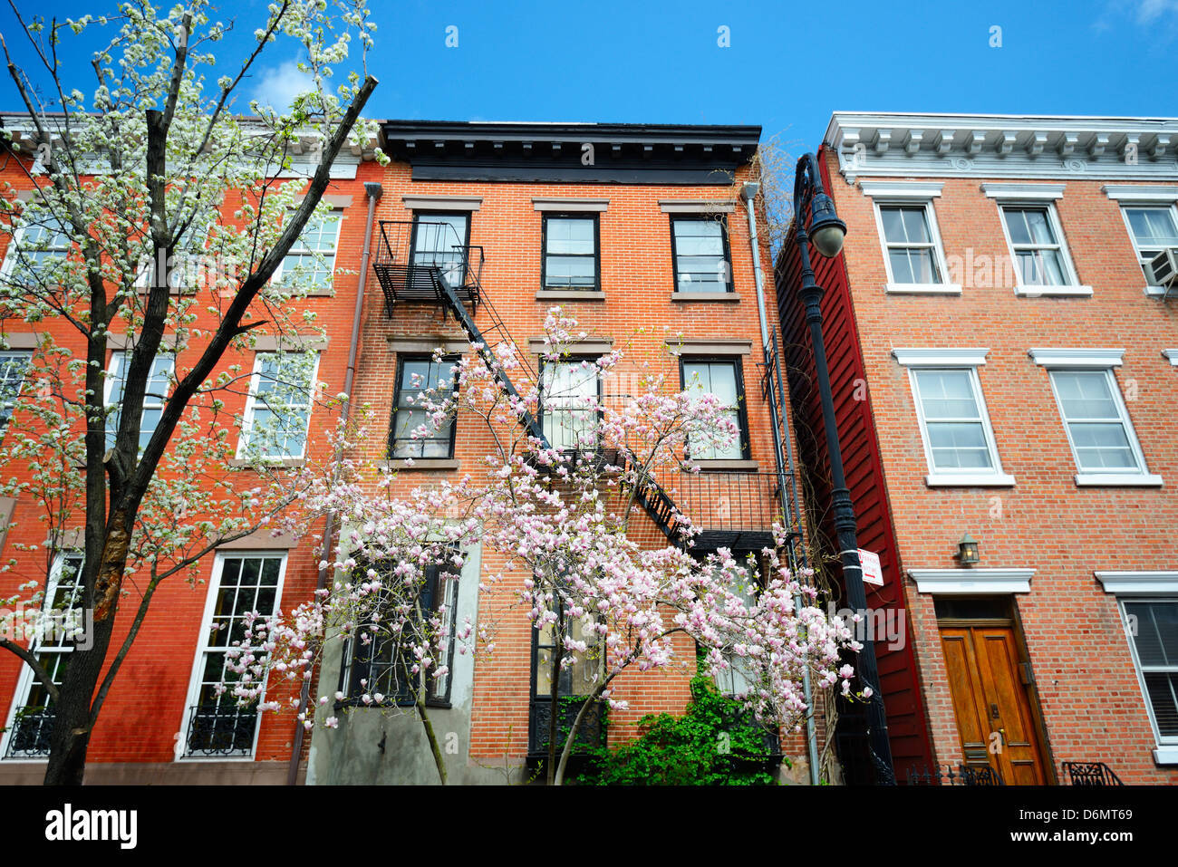 West Village New York City apartments in the springtime - Stock Image