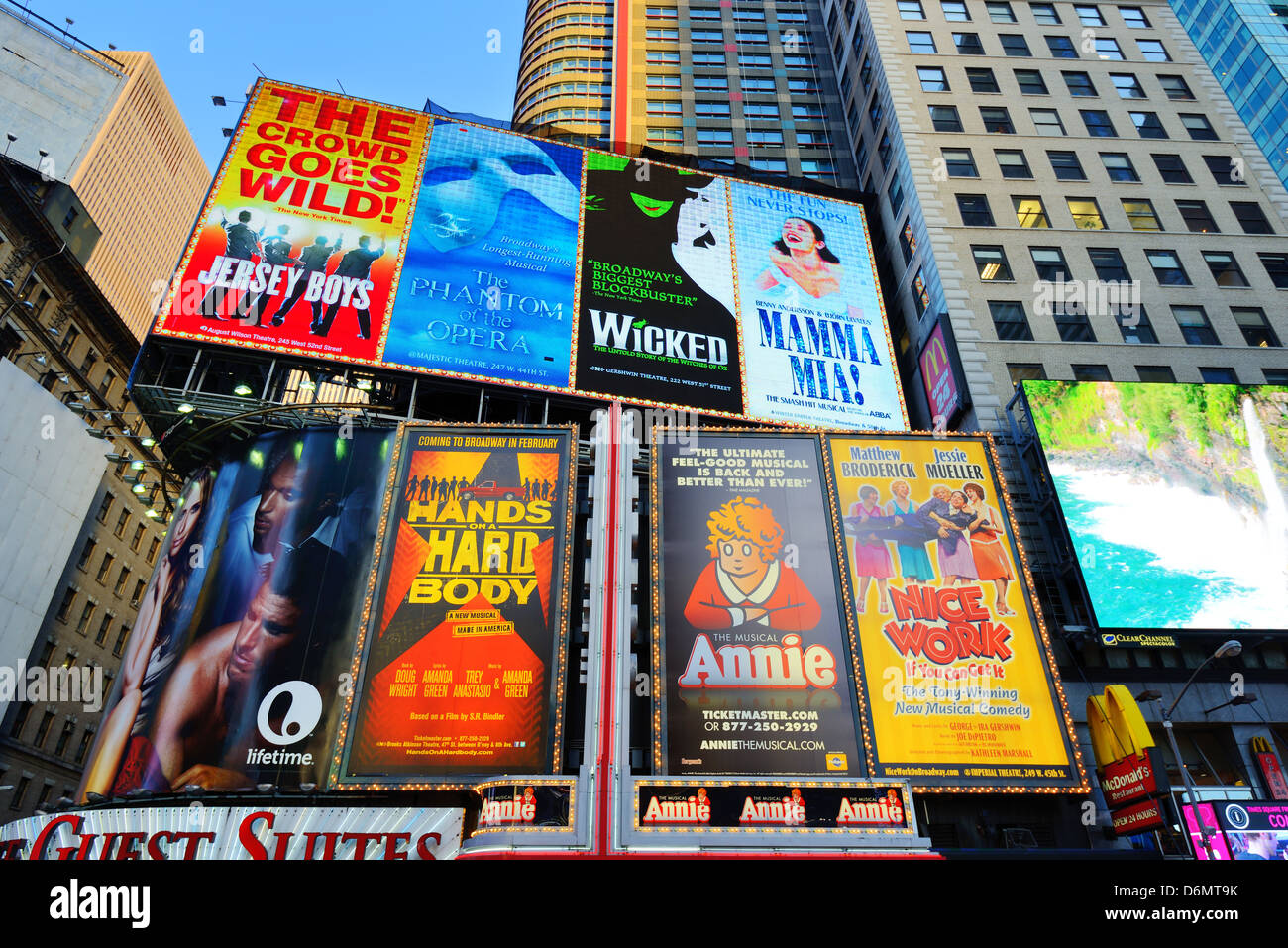 Broadway Play advertisements in Times Square, New York City. - Stock Image