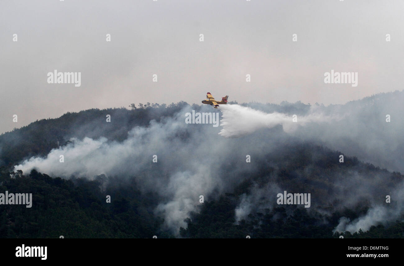 A Canadair aircraft drops water over a forest fire in the Spanish island of Ibiza - Stock Image