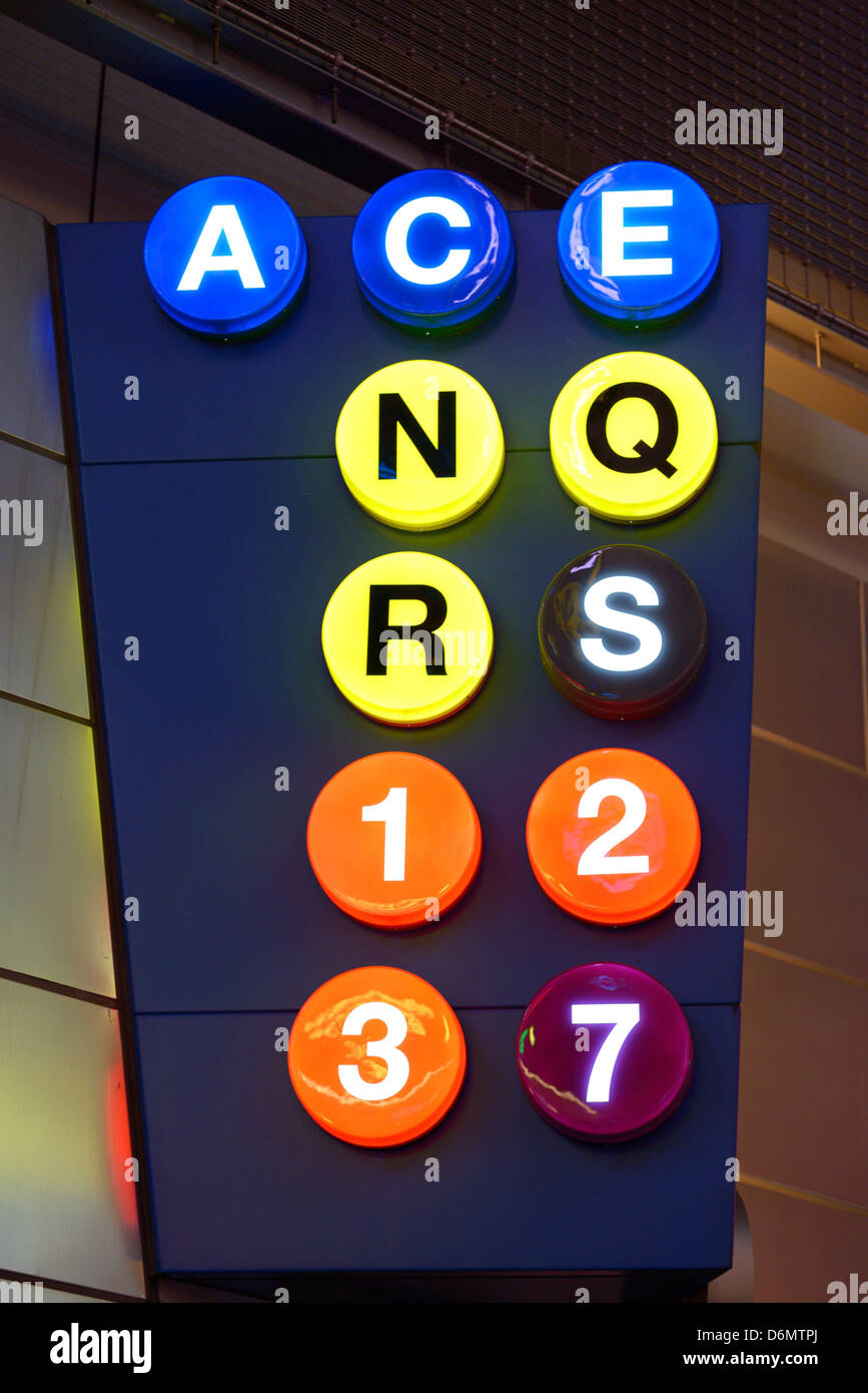 Sign for subway lines in New York City at Times Square-42nd Street Station. - Stock Image
