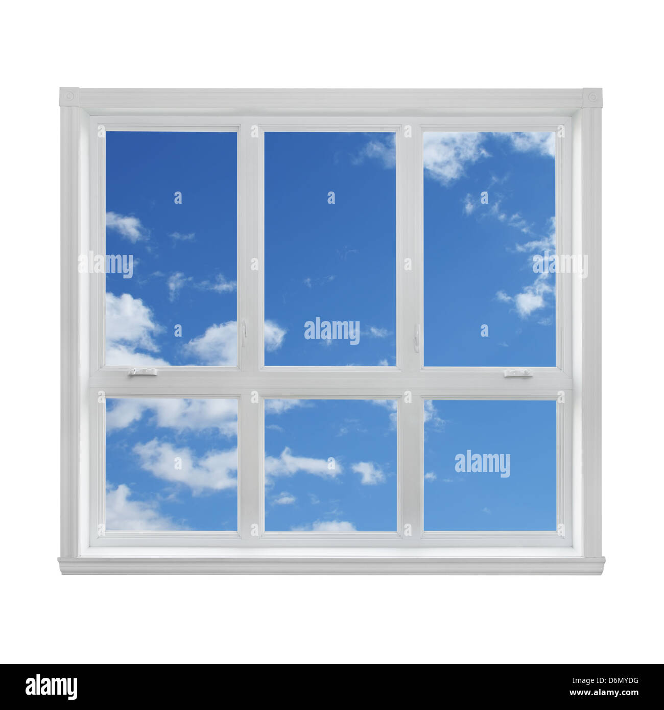 Blue sky with clouds seen through the window. - Stock Image