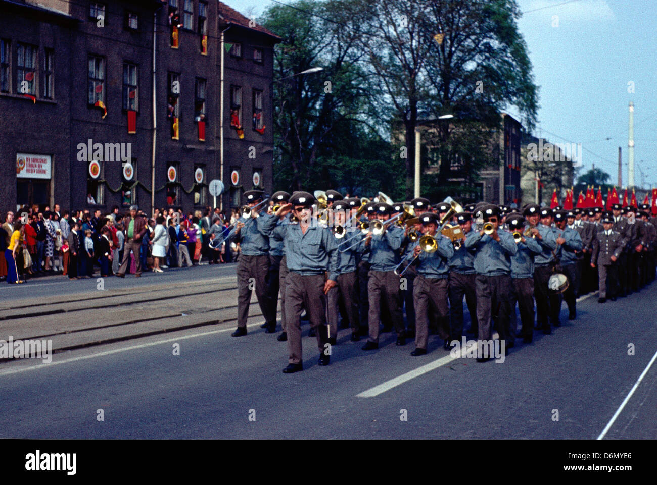 Gotha, East Germany, People's Police Orchestra at the parade for the 1200th anniversary of the city of Gotha - Stock Image