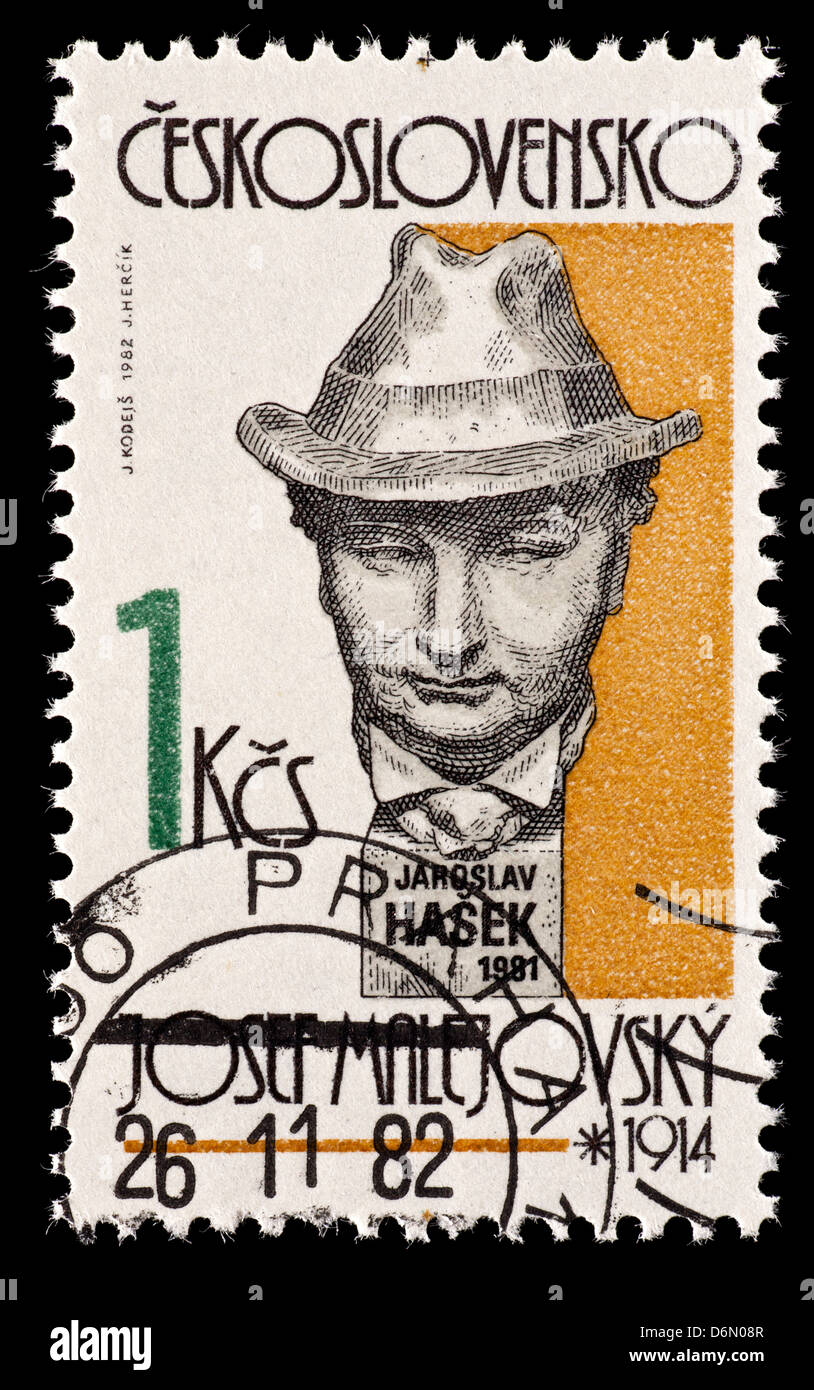 Postage stamp from Czechoslovakia depicting Jaroslav Hasek (Czech writer) as depicted by a sculpture by Josef Malejovsky. Stock Photo