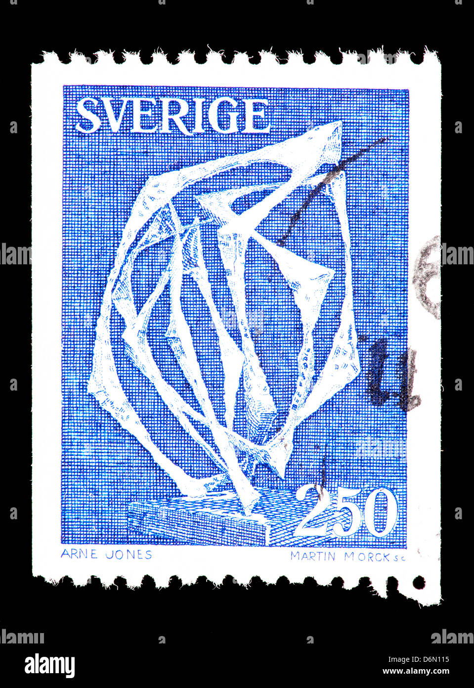 Postage stamp from Sweden depicting the Arne Jones sculpture 'Space without affiliation'. - Stock Image
