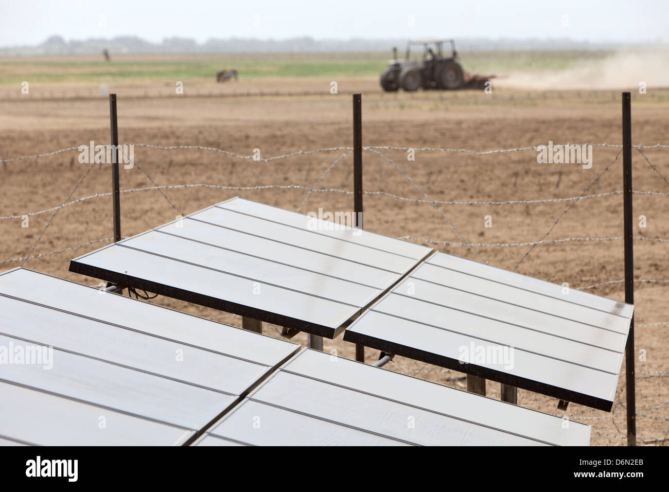 Awash, Ethiopia, solar panels for the power of planned water pumps - Stock Image