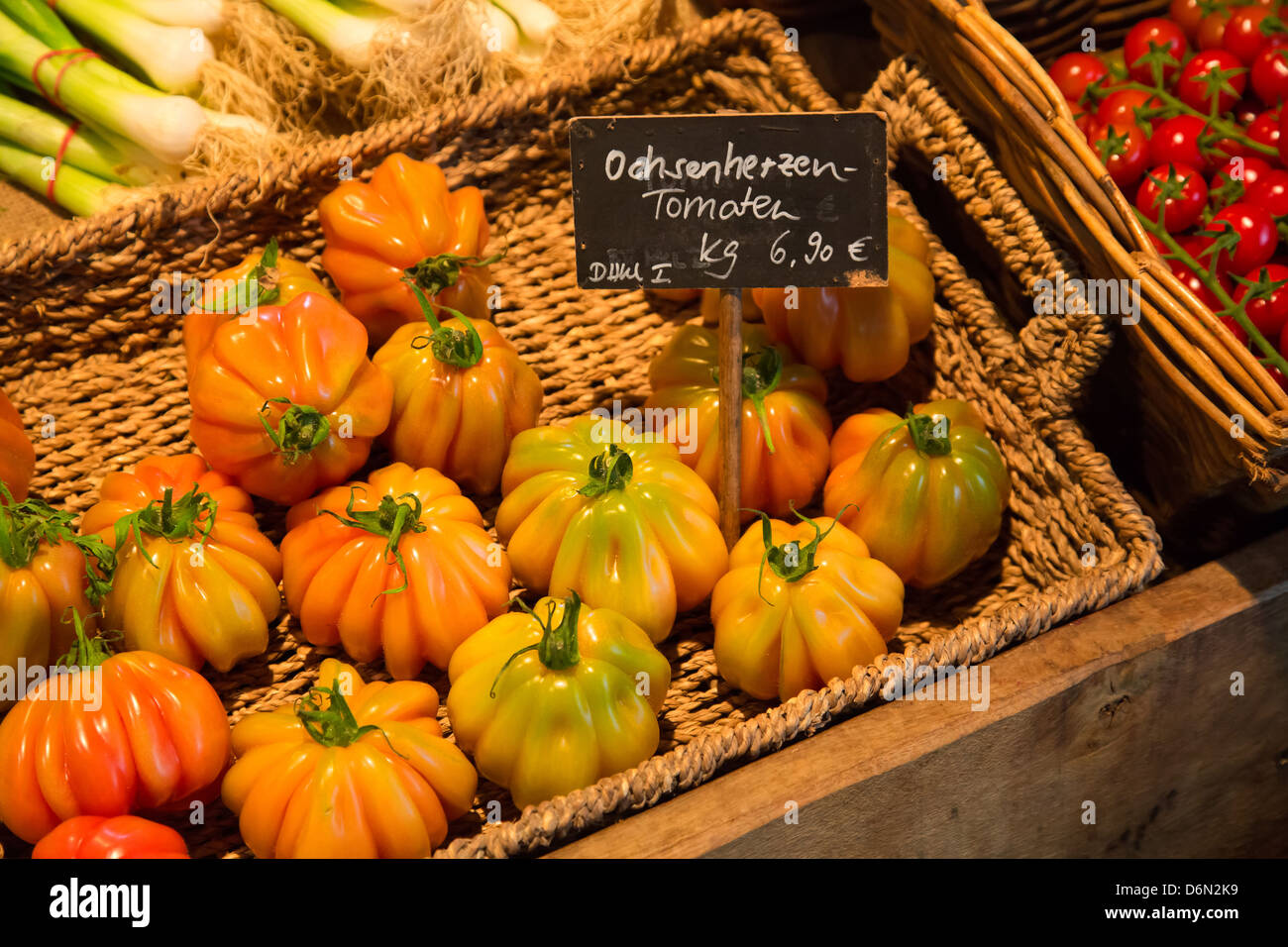 Herten, Germany shopping, tomatoes from the farm shop Stock Photo