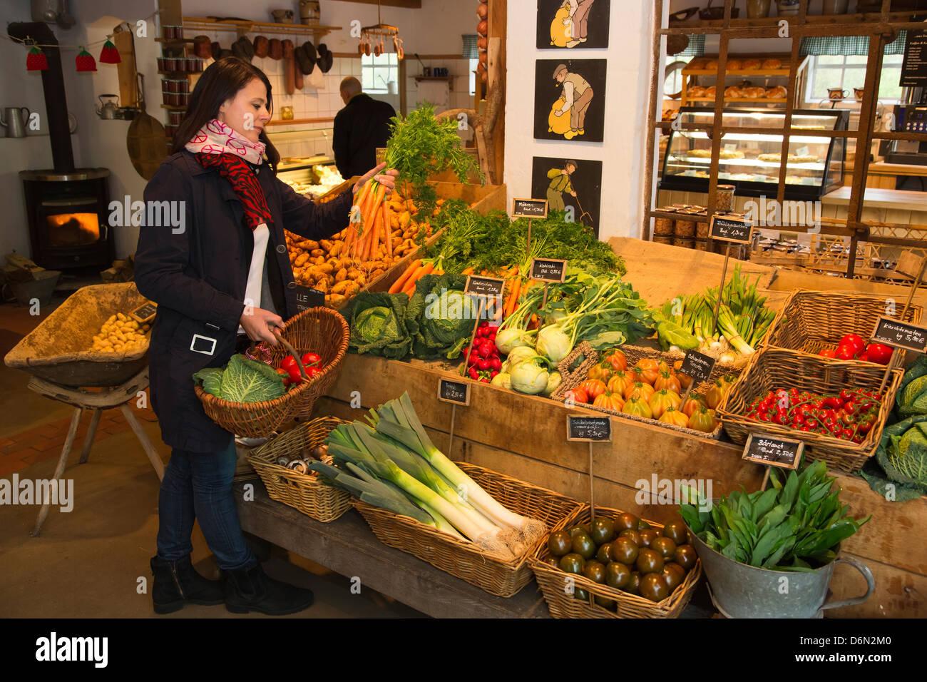 Herten, Germany, shopping in the farm store Stock Photo