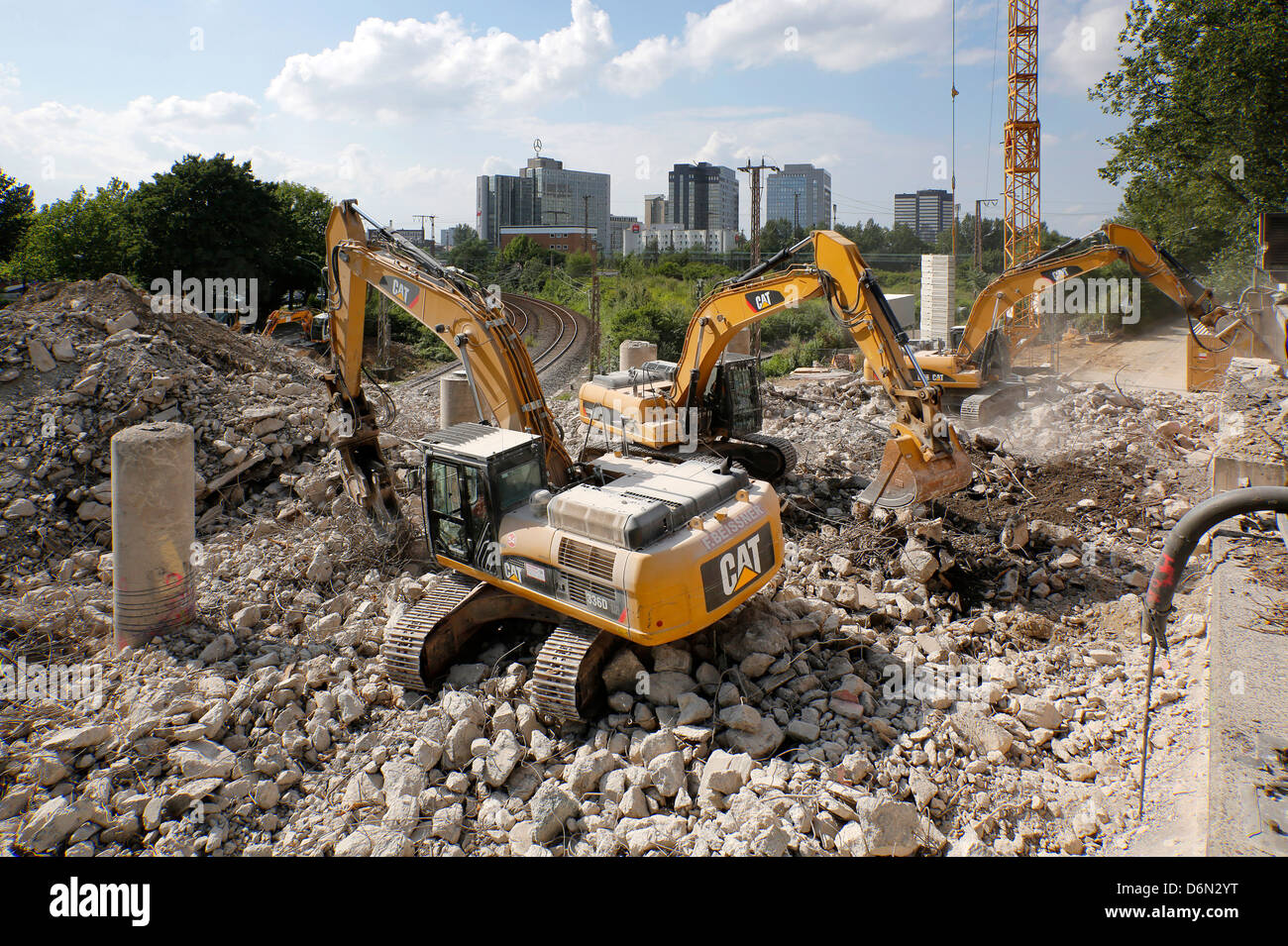 Essen, Germany, full closure of the A40 due to roadworks - Stock Image