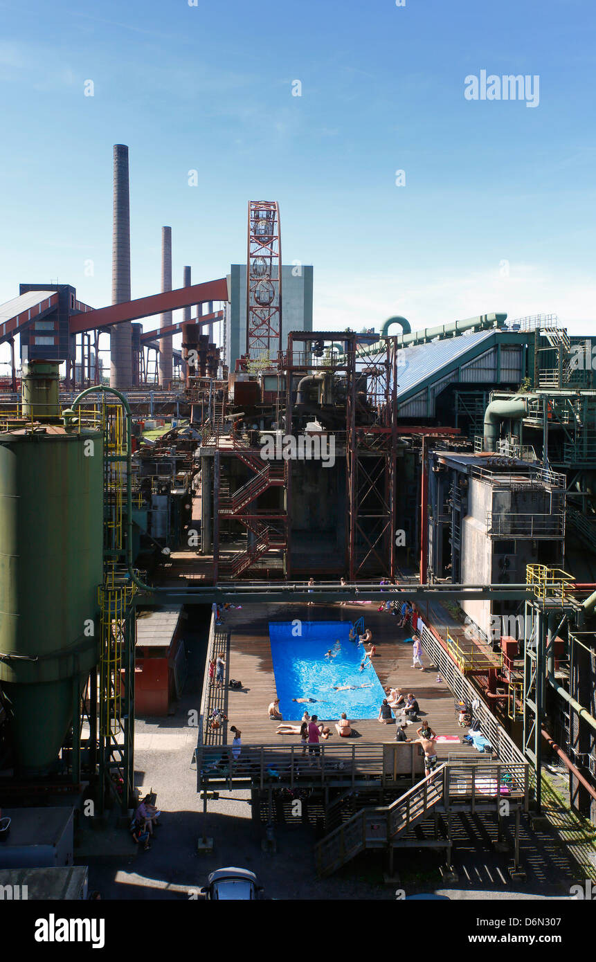 Essen, Germany, the outdoor swimming pool plant Zollverein - Stock Image
