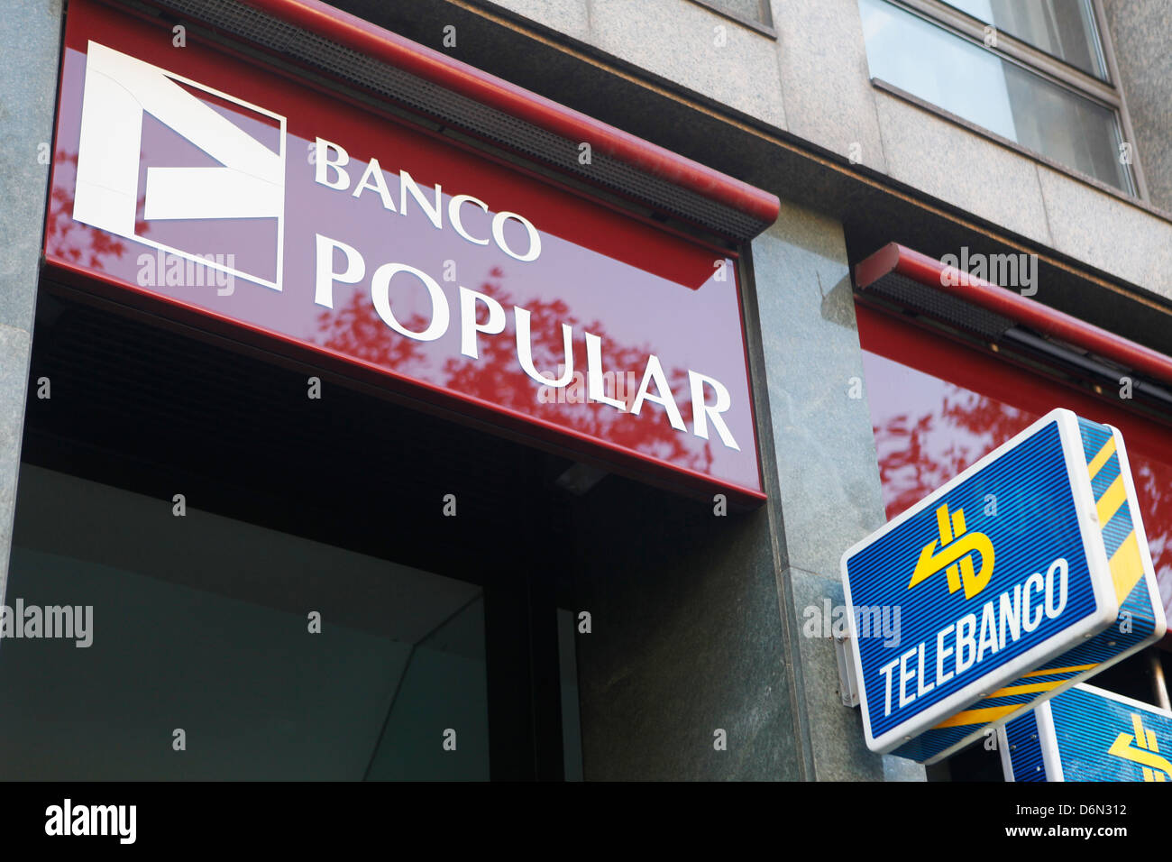 Barcelona, Spain, branch of Banco Popular - Stock Image
