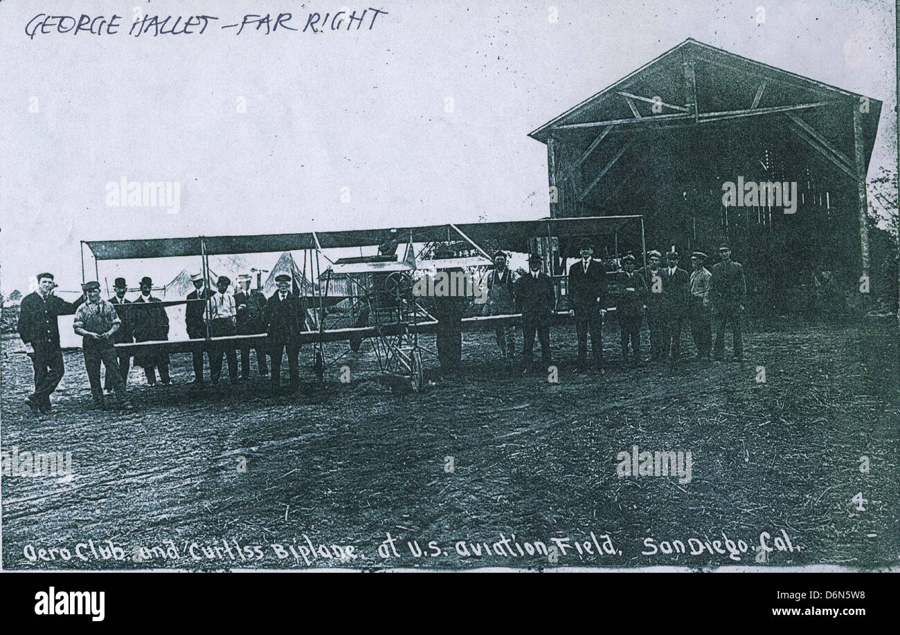 Aero Club and Curtiss Biplane, U.S. Aviation Field, San Diego (1911) Stock Photo