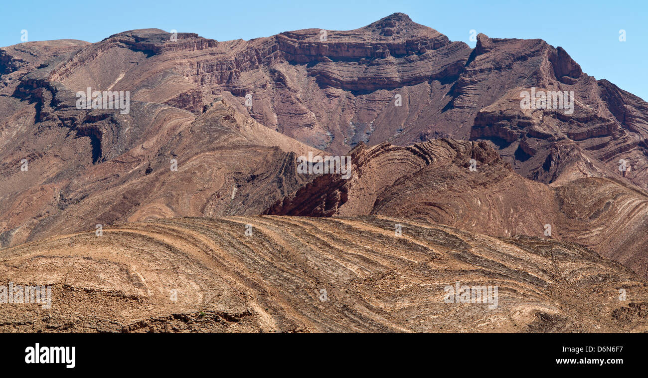 Scenic views of  geological formations in the High Atlas and Anti Atlas Mountains - Stock Image
