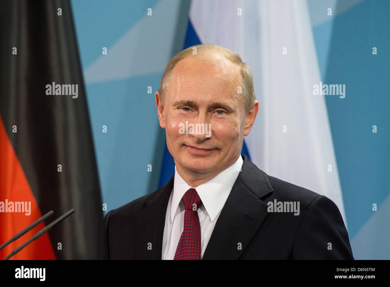 Berlin, Germany, Vladimir Vladimirovich Putin, President of the Russian Federation, the Federal Chancellery - Stock Image