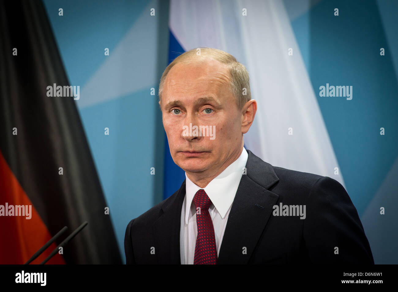 Berlin, Germany, Vladimir Vladimirovich Putin, President of the Russian Federation, the Federal Chancellery - Stock Image