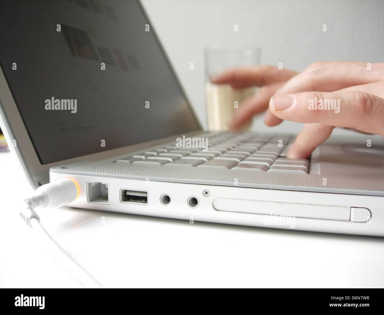 palmtop,finger,typing - Stock Image