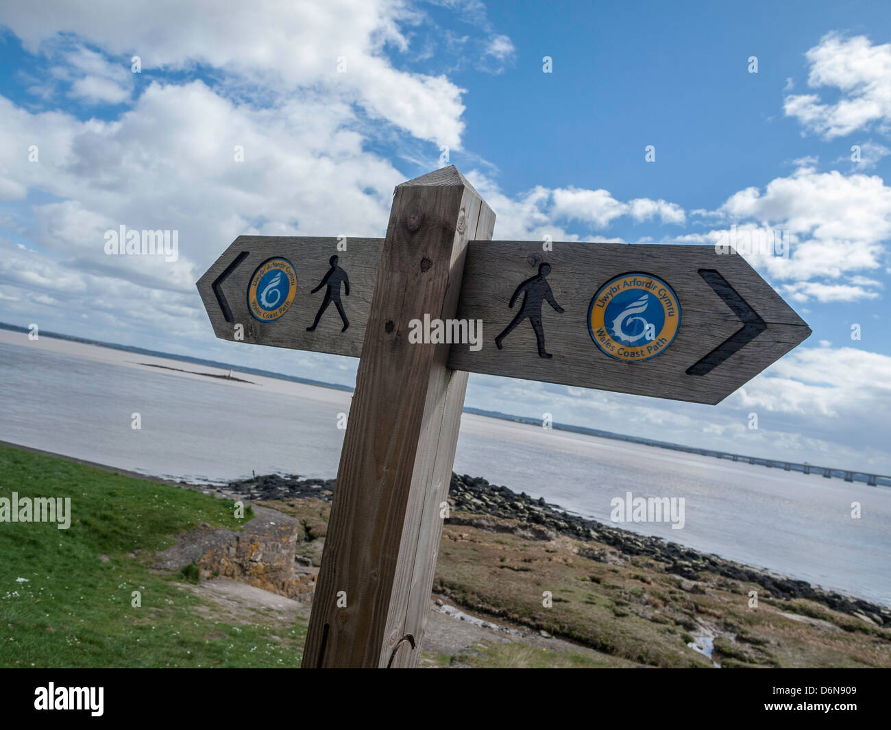 SIGNS ON WALES COAST PATH AT BLACK ROCK Monmouthshire Wales UK - Stock Image