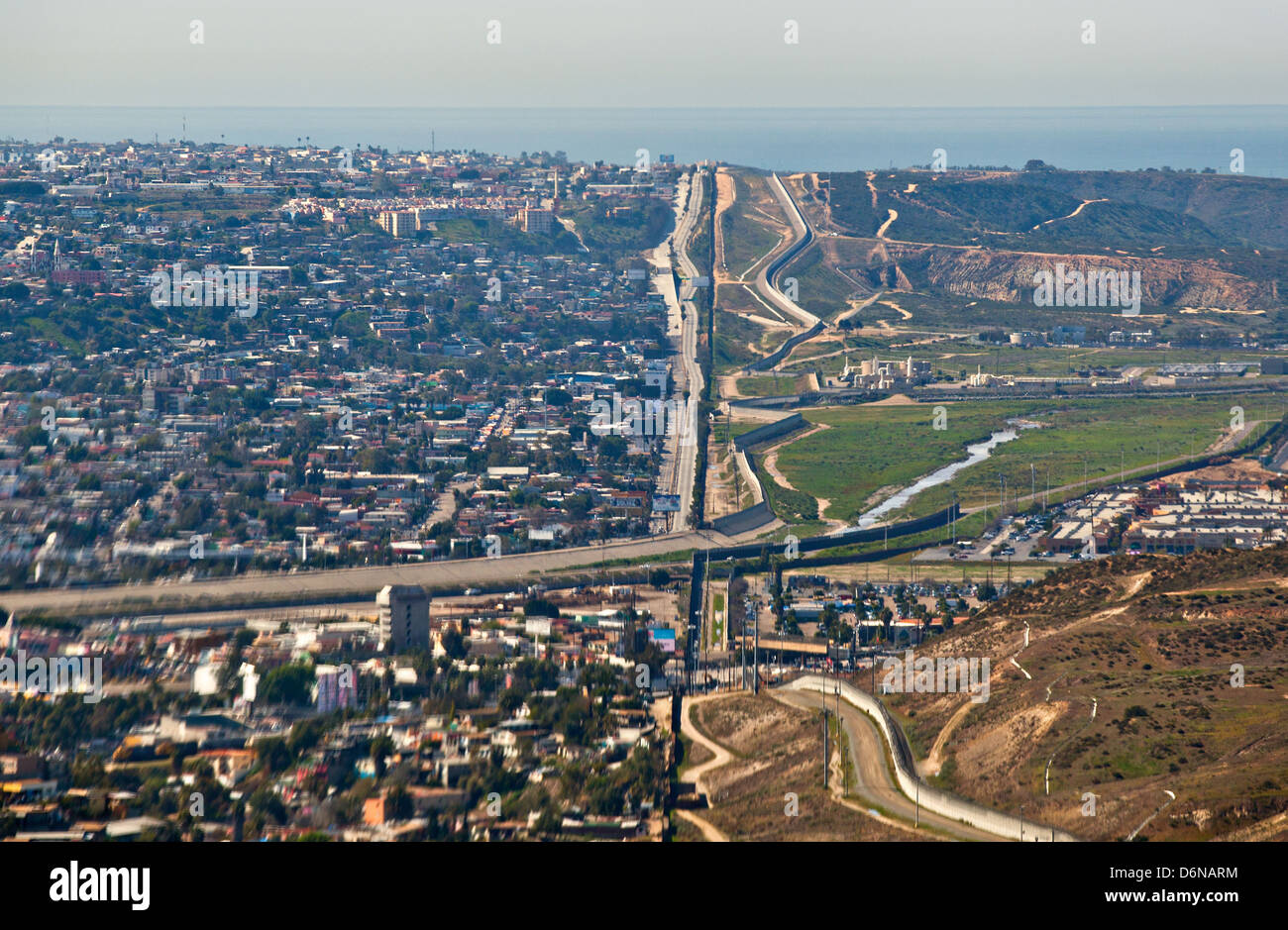 Aerial view of the border fence separating San Diego and Tijuana February 17, 2012 in San Diego, CA Stock Photo