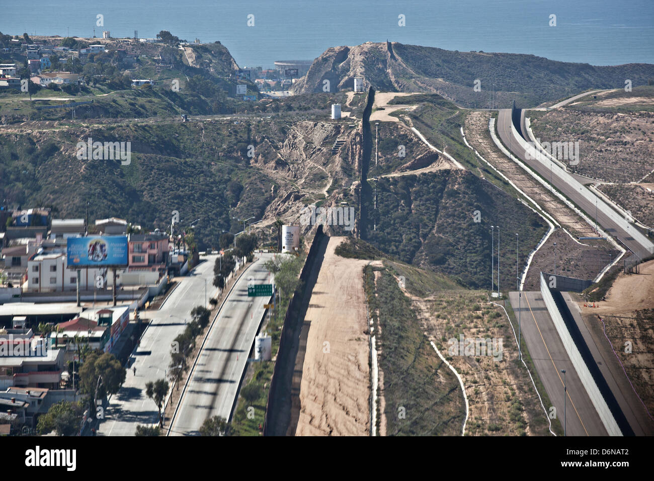 Aerial view of the border fence separating San Diego and Tijuana February 17, 2012 in San Diego, CA - Stock Image