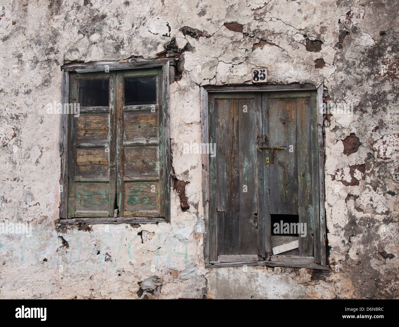 Closeup Of Old House Plaster Wall Windows With Shutter No 85 In