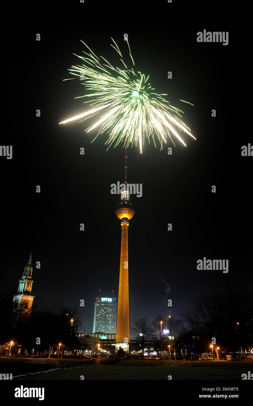 Berlin, Germany, on New Years Eve fireworks at ...