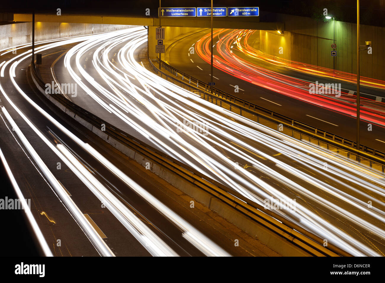 Berlin, Germany, motorway A 103 in Berlin at the entrance to the tunnel - Stock Image