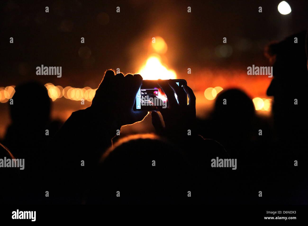Kitzbuehel, Austria, use a digital camera at night - Stock Image