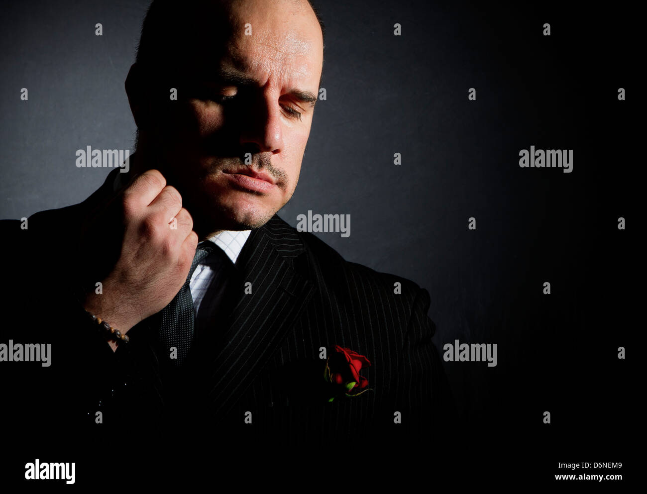 Portrait of man, godfather-like character. - Stock Image