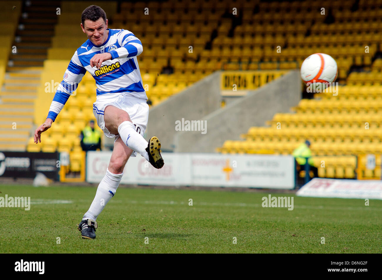 Livingston, Scotland, UK. Saturday 20th April 2013. Martin Hardie  sees his effort blocked during the Livingston - Stock Image
