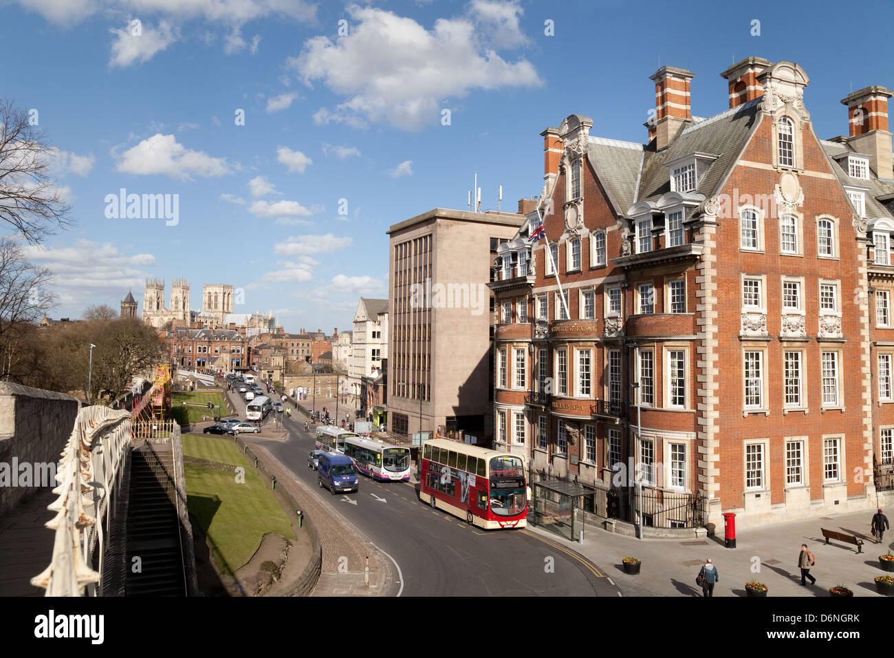 York city centre with The  Grand Hotel and the old city walls in the foreground, UK Stock Photo