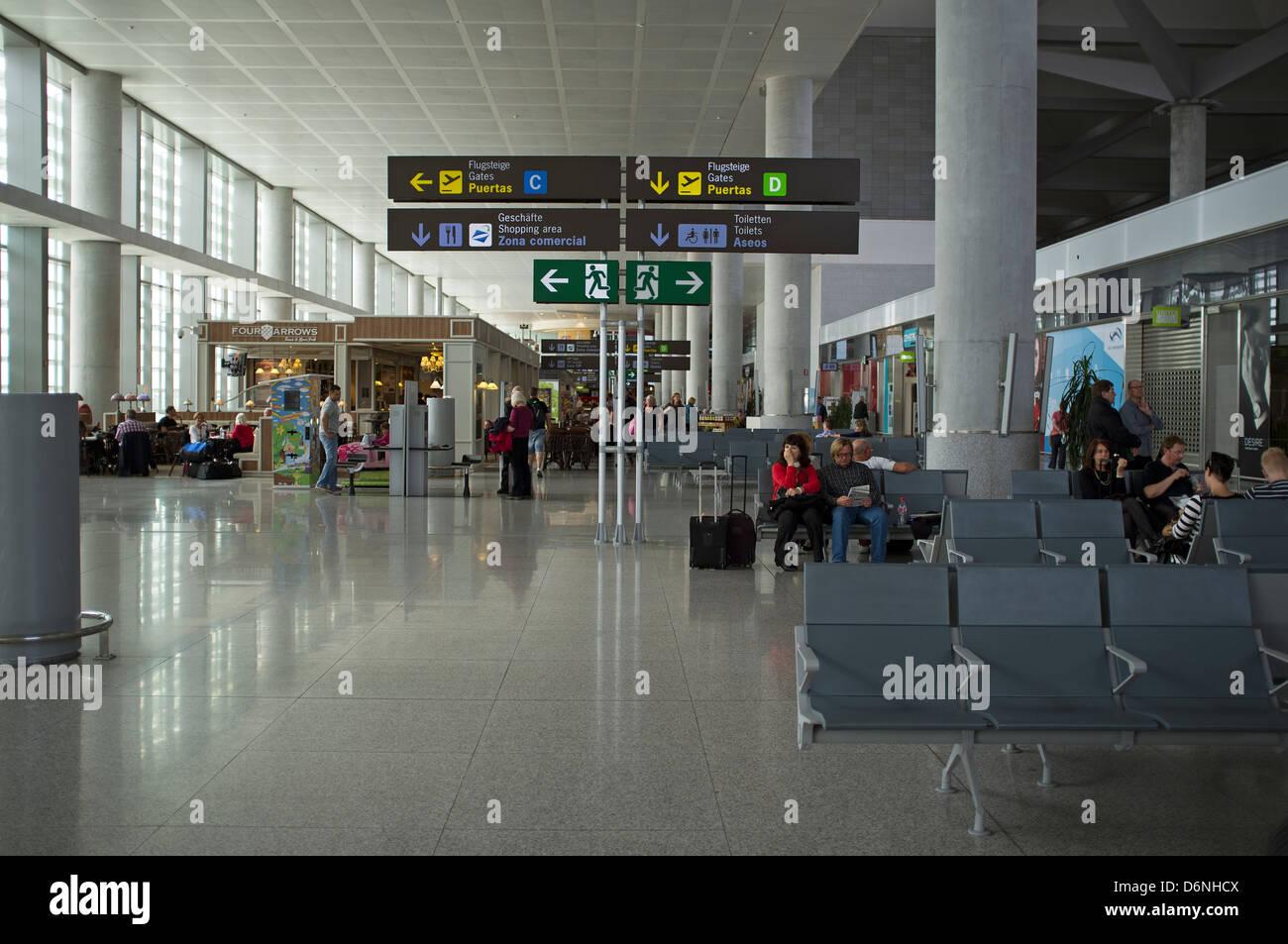Passenger airside lounge Malaga Airport Spain - Stock Image