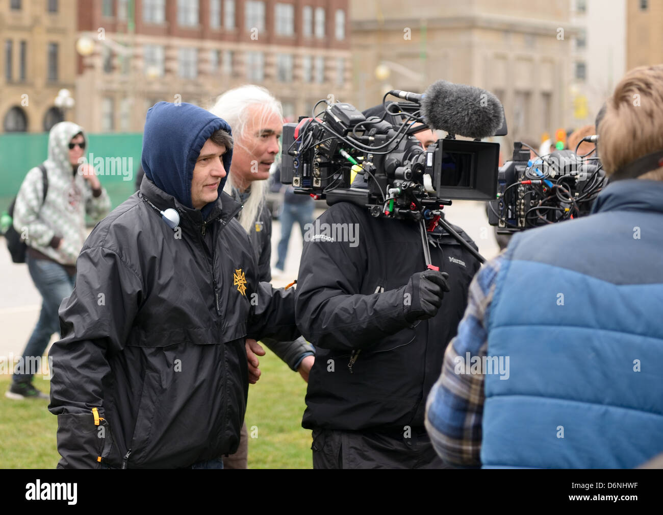 Mike Clattenburg director of the popular Trailer Park Boys show directs a scene for the third TPB movie Apr 20, Stock Photo