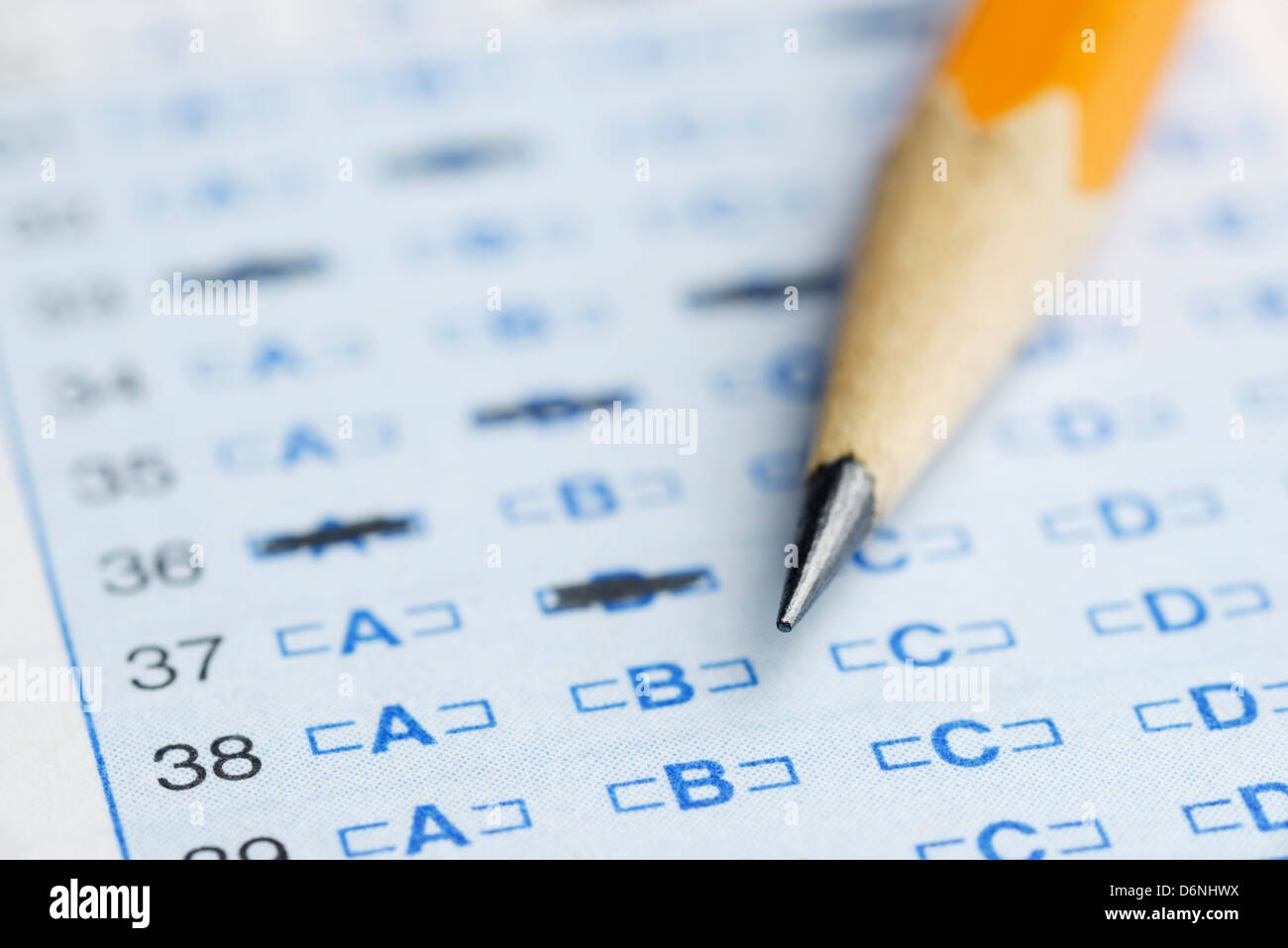 Optical scan answer sheet for a school exam - Stock Image