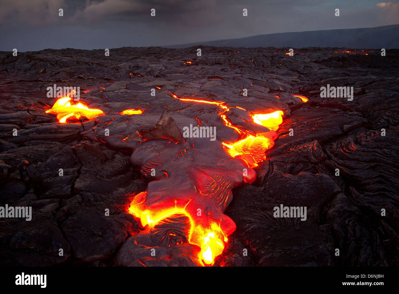 lava flow from Kilauea Volcano's Puu Oo vent near Hakuma Point, Hawaii Island (The Big Island), Hawaii ,USA - Stock Image