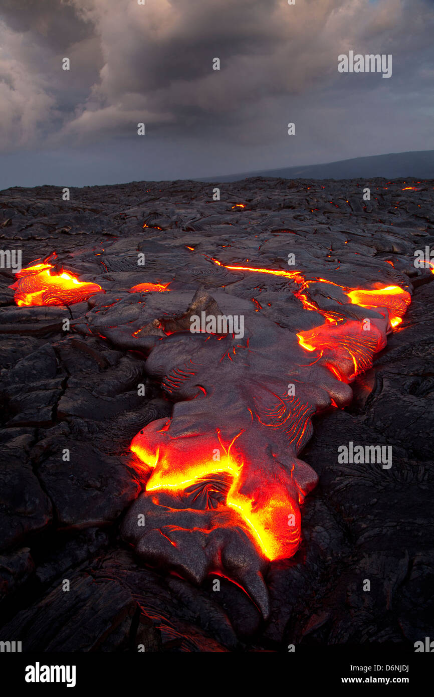 lava flow from Kilauea Volcano's Puu Oo vent near Hakuma Point, Hawaii Island (The Big Island), Hawaii ,USA - Stock Image