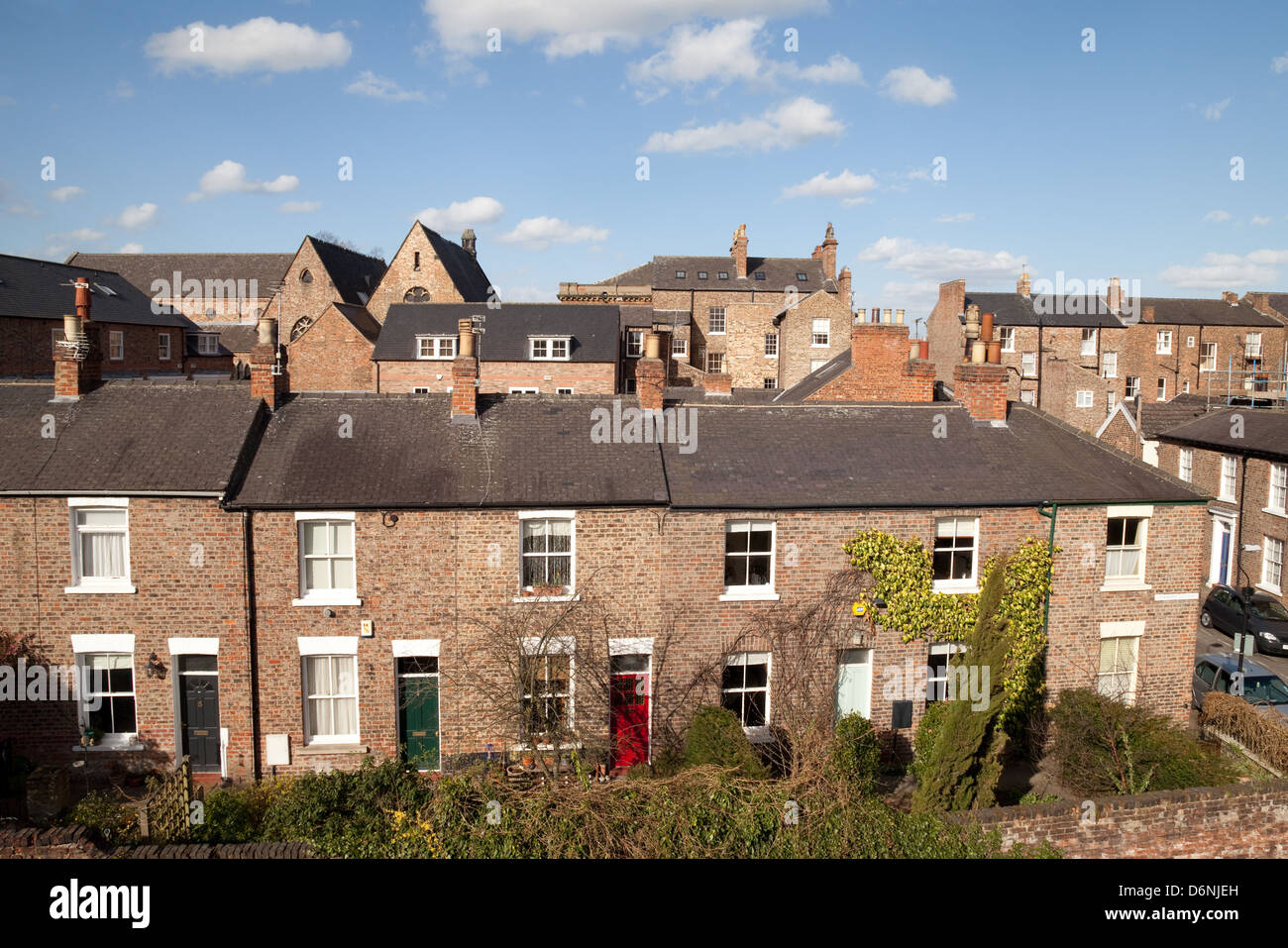 A row of terraced houses, Dewsbury Terrace, the City of York, Yorkshire, UK - Stock Image