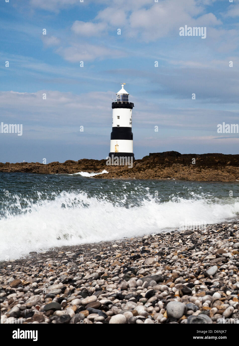 Penmon lighthouse and shore, South East Anglesey Stock Photo
