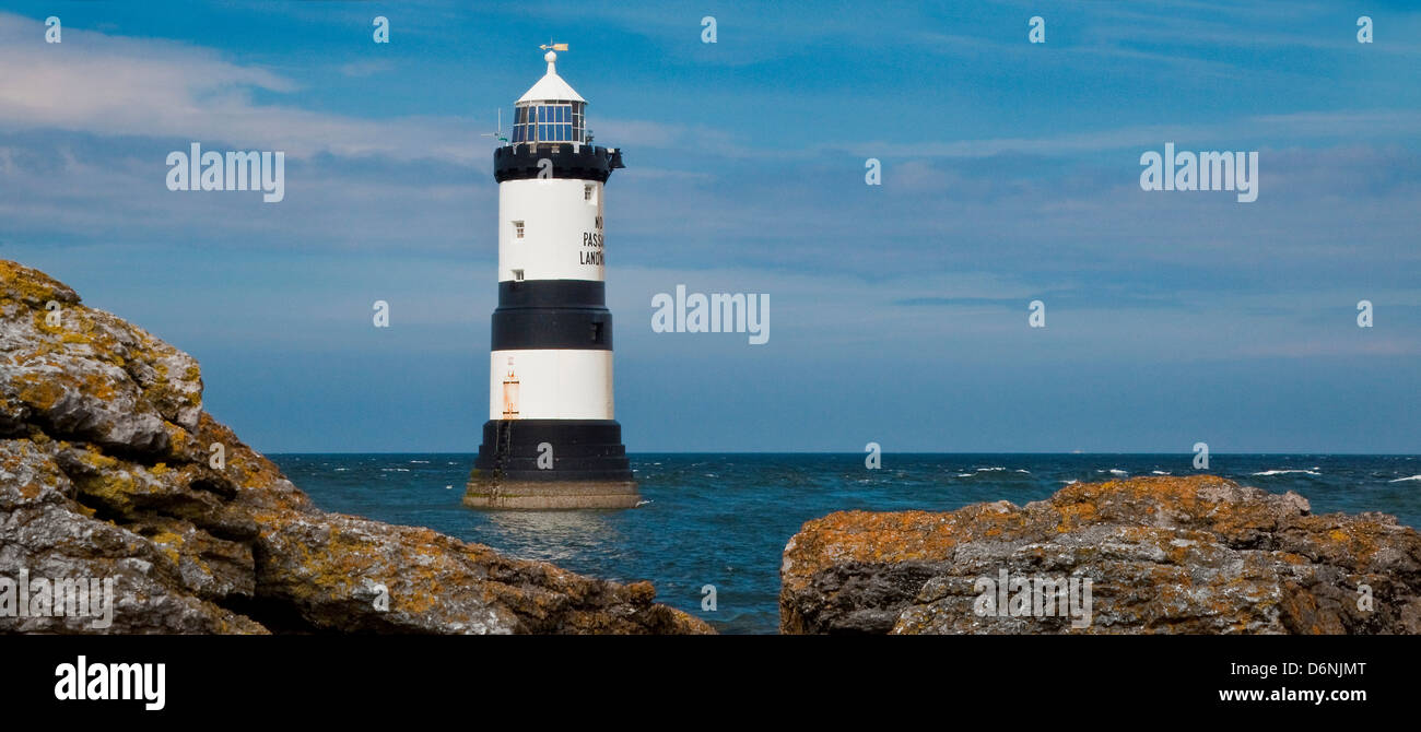 Penmon lighthouse, South East Anglesey Stock Photo