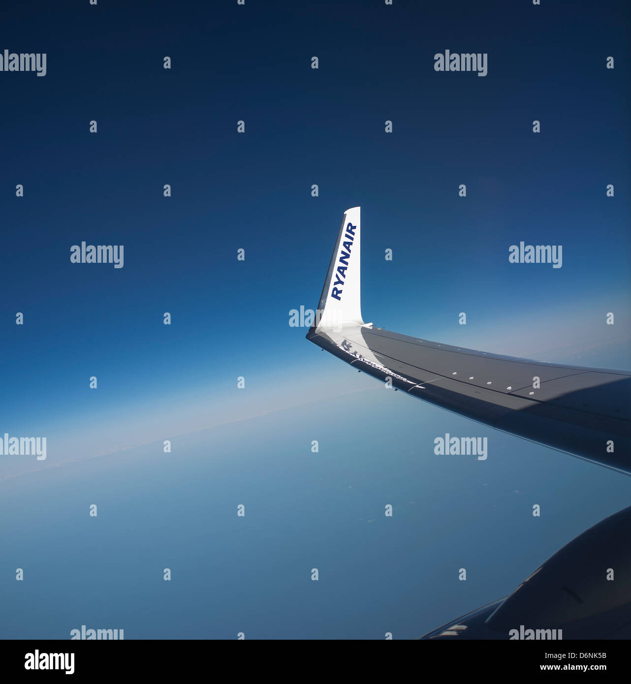 Winglet on a Boeing 737-800 jet of the Ryanair fleet of aircraft - Stock Image