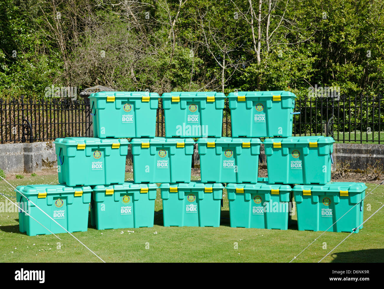 ' Shelter Box '  survival aid boxes at one of the charities exhibitions days in cornwall, uk - Stock Image