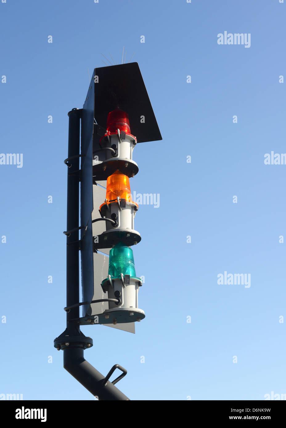 Harbour traffic lights - Stock Image