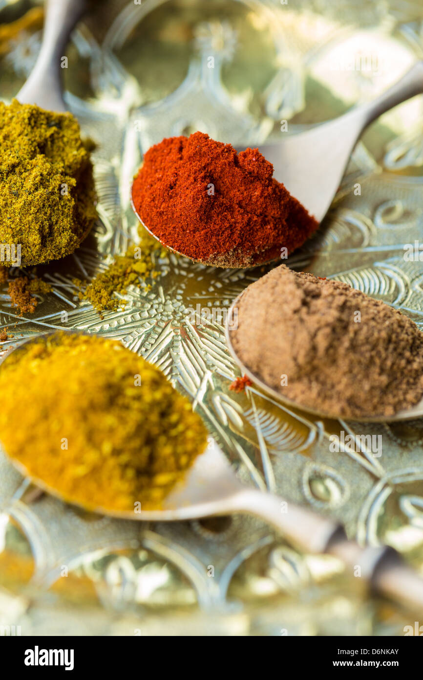 Spoons of curry powder, allspice, paprika - Stock Image