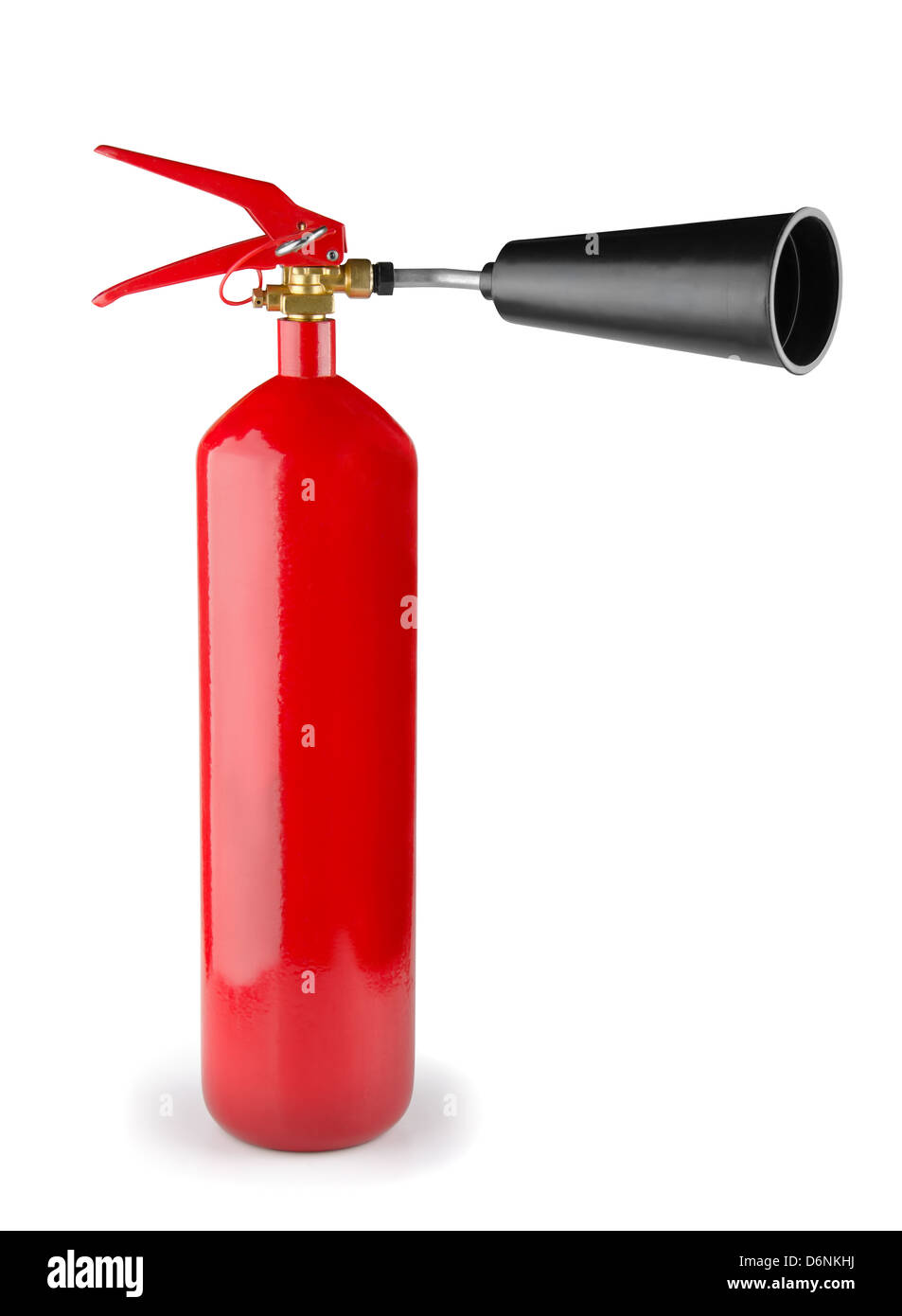 Red fire extinguisher isolated on white - Stock Image