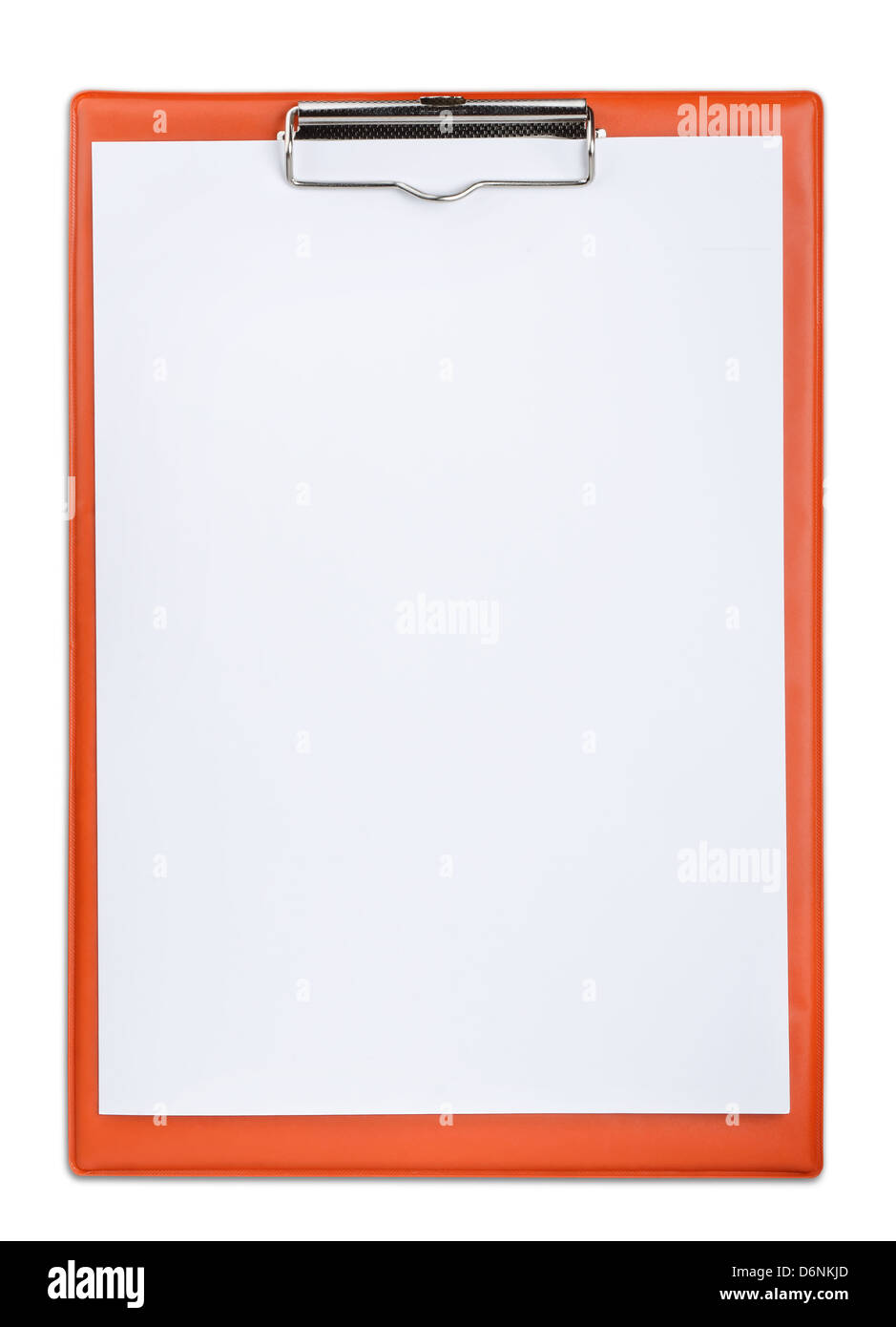 Red plastic clipboard with blank paper sheet isolated on white - Stock Image